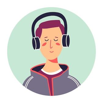 헤드폰을 사용하여 음악을 듣고 있는 힙스터 남성 캐릭터, 십대의 고립된 초상화. 노래를 즐기는 닫힌된 눈을 가진 십 대 소년, 유행 남자. 학생 또는 학교의 학생, 평면에서 벡터