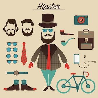 ヒップスターの要素とアイコンを持つヒップスターの男性キャラクター。