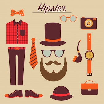 Hipster male character with hipster elements and icons.