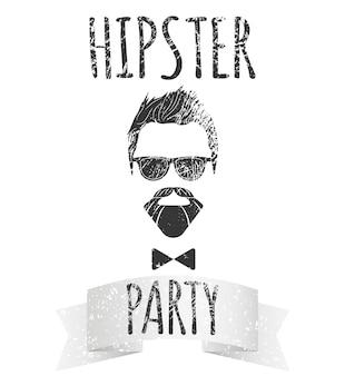 レタリング付きの眼鏡をかけた流行に敏感な男性-流行に敏感なパーティー。ロゴ、ポスター、tシャツのファッションヴィンテージベクトルイラスト。