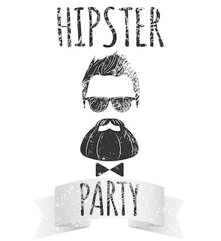 Hipster male with eyeglasses with lettering - hipster party. fashion vintage vector illustration for logo, poster and t-shirt.