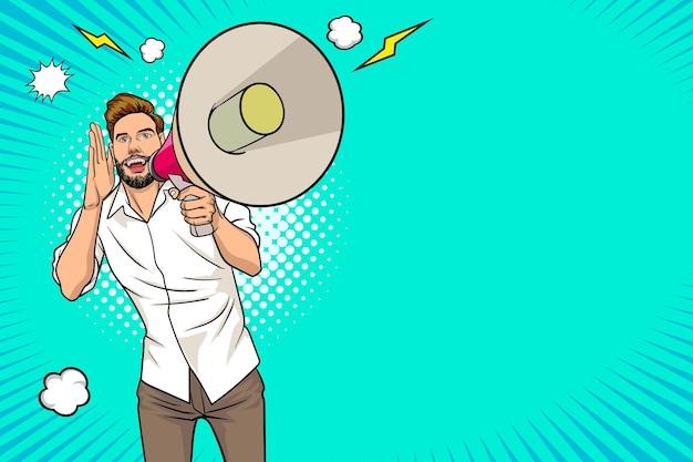 Битник человек и мегафон с пустым пространством в стиле комиксов ретро винтаж поп-арт