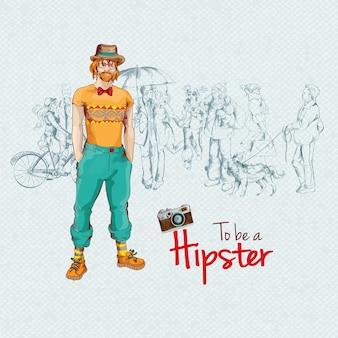 Hipster man background design