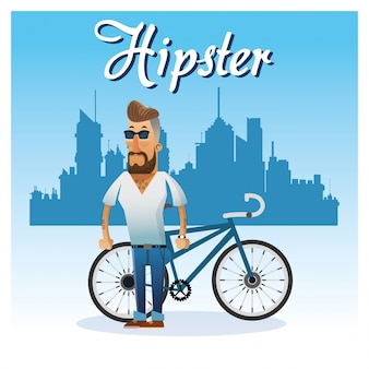 Hipster man cartoon with bike