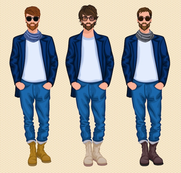 Hipster man character set