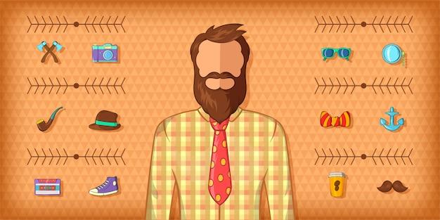 Hipster man horizontal banner brown, cartoon style