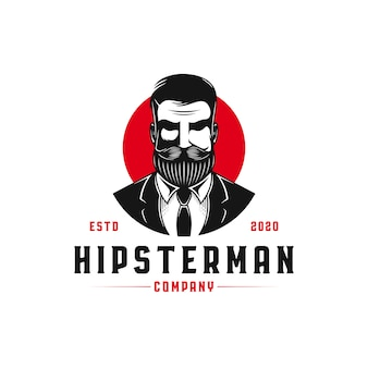 Hipster man logo template