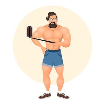 自撮り棒で自分撮りをする流行に敏感な男。スマートフォンで写真を撮る男。