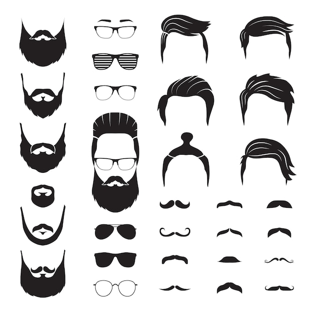 Hipster man. male beard, mustache hair. isolated man face with glasses. fashion barber shop icons