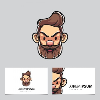 Hipster man mascot and business cards