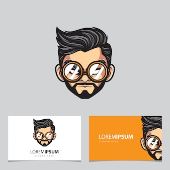 Hipster man mascot logo