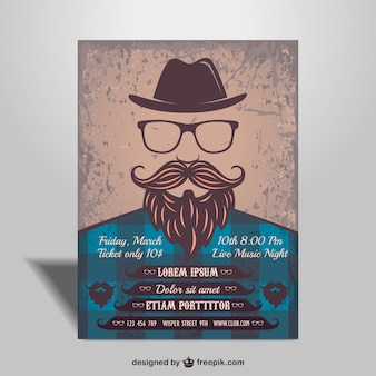 Hipster man music party poster
