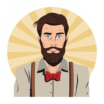 Hipster man pop art cartoon