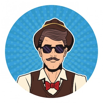 Hipster man pop art cartoon