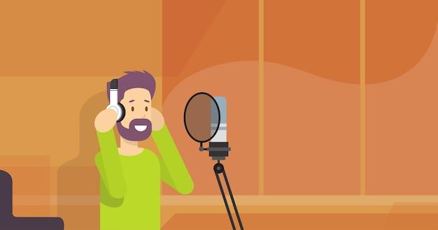 Hipster man wear headphones earphones with microphone