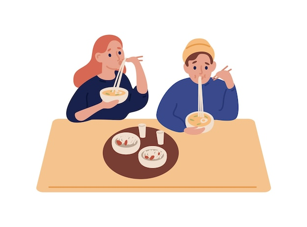 Hipster man and woman eating noodles at restaurant vector flat illustration