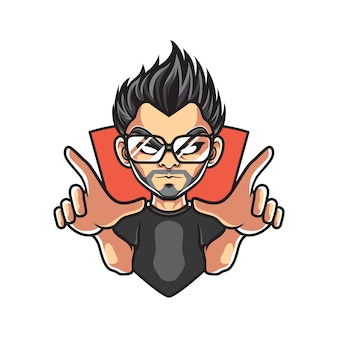 Hipster man талисман логотип