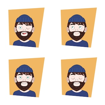 Набор hipster man лица с разными выражениями коллекция эмоций бородатого парня
