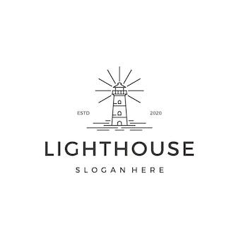 Hipster monoline lighthouse logo design