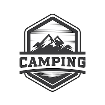 Hipster mountain and camping logo vector