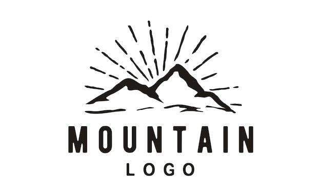 Hipster mountain logo design