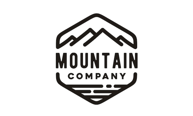 Hipster mountain sea logo design