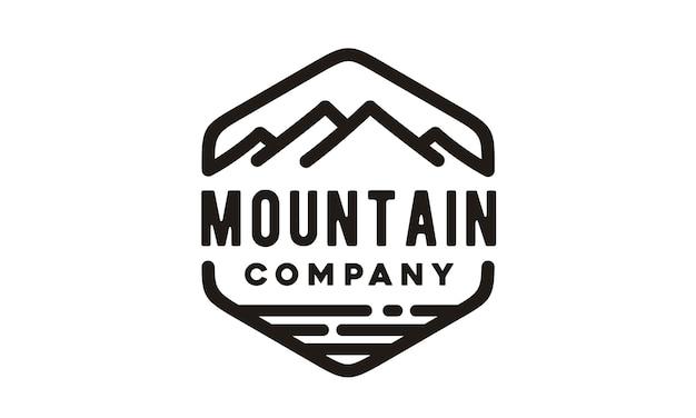 Дизайн логотипа hipster mountain sea