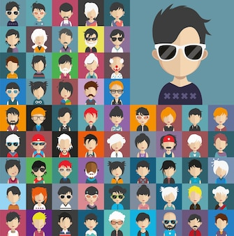 Hipster people avatar collection