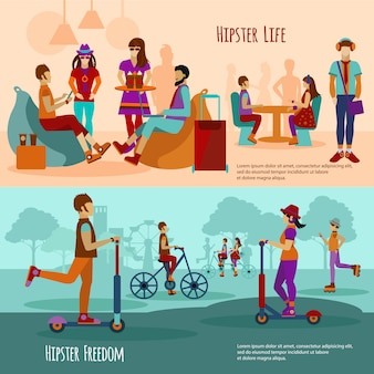 Hipster people banner set