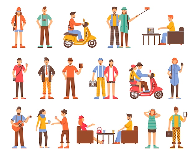 Hipster people decorative icons set