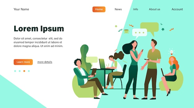 Hipster 사람들이 이야기하고 공동 작업에서 컴퓨터를 사용합니다. 크리에이티브 팀 회의 및 열린 공간에서 작업. 직장, 팀워크, 비즈니스 개념에 대 한 벡터 일러스트 레이 션