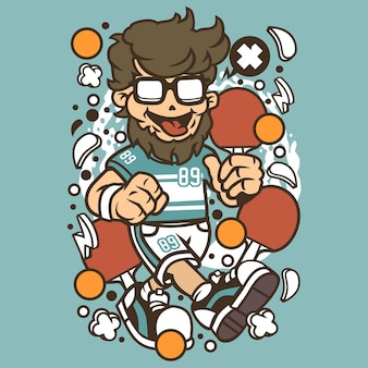 Hipster ping pong cartoon