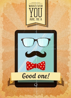 Hipster poster with vintage tablet