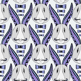 Hipster rabbits pattern. vector zentangle creative repeating art. seamless print for textile or wrapping paper.