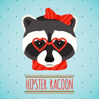 Hipster raccoon background design