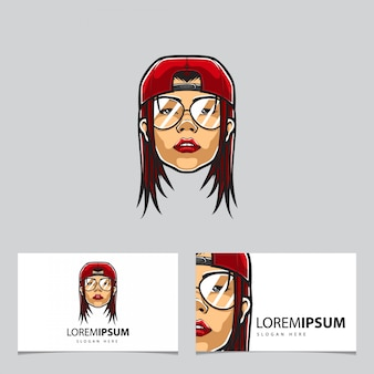 Hipster red-haired woman with cap mascot