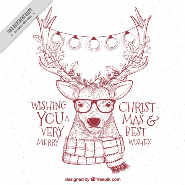 Free Hipster Reindeer Sketchy Background With Christmas Messages Svg Dxf Eps Png Svg Vectors Photos And Psd Files