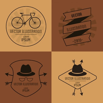 Hipster related icons emblems image