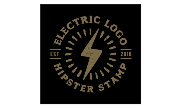 Дизайн логотипа hipster retro electric stamp