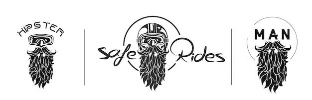 Hipster rider wearing a helmet for safe ride logo set