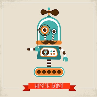 Hipster robot character