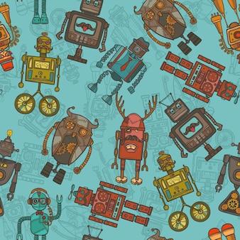 ヒップスターロボットの色のシームレスなパターン