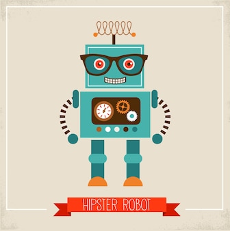 Иллюстрация игрушки робота-хипстера