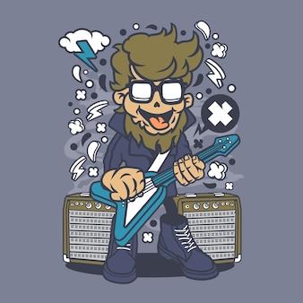 Hipster rock star cartoon
