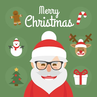 Hipster santa claus character illustration and christmas icons set. merry christmas
