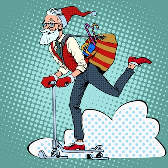 Hipster 산타 클로스는 스쿠터 썰매에 크리스마스 선물을 확산
