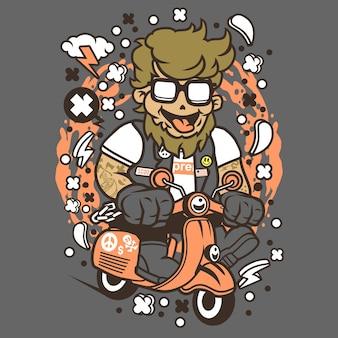 Hipster scooterist cartoon