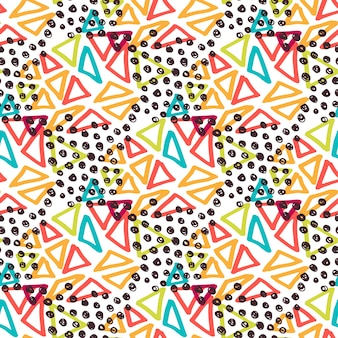 ヒップスターシームレスパターン。ファッションの背景と三角形