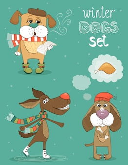 Hipster set of cute winter fashion dogs