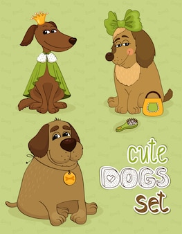 かわいい面白い犬の流行に敏感なセット 無料ベクター